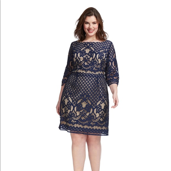 03e7b717 Gabby Skye Dresses | Plus Sized 34 Sleeved Lace Dress Navy | Poshmark